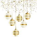 Christmas bauble decoration in gold color. Vector illustration with new year balls for xmas card, invitation, surface design. Luxury style ornament elements Stock Photos