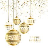 Christmas bauble decoration in gold color. Vector illustration with new year balls for xmas card, invitation, surface design. Luxury style ornament elements Stock Images