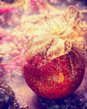 Christmas bauble on decoration table, holiday ornament background Stock Image