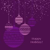 Christmas bauble decoration in violet color. Vector illustration with new year balls for xmas card, invitation, surface design. Purple ornament elements Stock Image