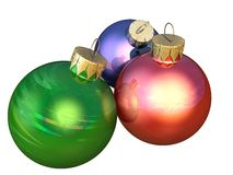 Christmas bauble decorations. 3d illustration of colorful Christmas bauble decorations; isolated on white background Royalty Free Stock Images