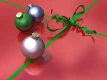 Christmas bauble decorations with ribbon and bow Royalty Free Stock Photos