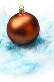 Christmas bauble in feathers nest. Still life with christmas bauble in feathers nest, on white background Stock Images