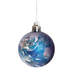 Christmas bauble featuring earth - US and Europe. royalty free stock photos