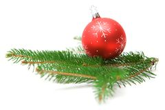 Christmas Bauble on Fir Branch Stock Image