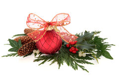 Christmas Bauble and Flora Stock Photography