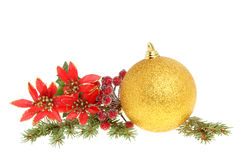 Christmas bauble and foliage Stock Image