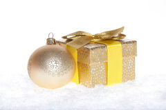 Christmas Bauble and gift Stock Photo
