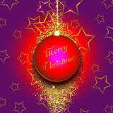 Christmas bauble on a gold glittery background. Vector illustration Stock Image