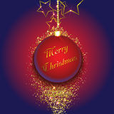Christmas bauble on a gold glittery background. Vector illustration Stock Images