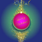 Christmas bauble on a gold glittery background. Vector illustration Stock Photo