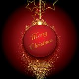 Christmas bauble on a gold glittery background. Vector illustration Stock Photos