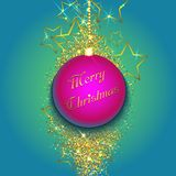 Christmas bauble on a gold glittery background. Vector illustration Royalty Free Stock Photo