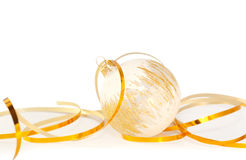 Christmas Bauble and gold ribbon Royalty Free Stock Image