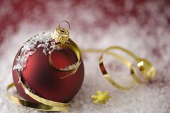 Christmas Bauble & Gold Ribbons Stock Photo