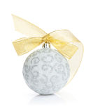 Christmas bauble with golden ribbon Stock Images