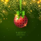 Christmas bauble on green background. Vector illustration. Christmas ball with bow. Sparkles. Place for your text message. Fashionable New year backdrop Stock Images