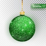 Christmas Bauble Green Glitter Isolated On White. Sparkling Glitter Texture Bal, Holiday Decoration. Stocking Christmas Royalty Free Stock Images