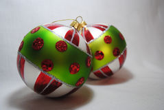 Christmas bauble 3. Green, red, white and silver Christmas bauble Stock Image