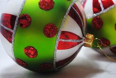 Christmas bauble 4. Green, red, white and silver Christmas bauble Stock Photos