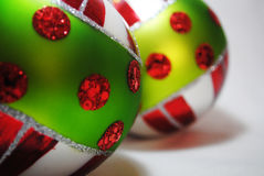 Christmas bauble 2. Green, red, white and silver Christmas bauble Royalty Free Stock Photography
