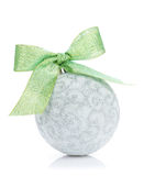 Christmas bauble with green ribbon Stock Photos