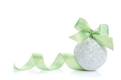 Christmas bauble with green ribbon Stock Image
