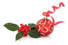 Christmas Bauble and Holly Stock Photo