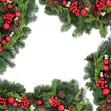 Christmas Bauble and Holly Border Stock Image