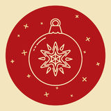 Christmas bauble icon in thin line style Stock Photography