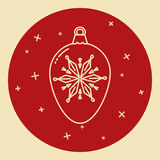 Christmas bauble icon in thin line style Royalty Free Stock Photo