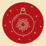 Christmas bauble icon in thin line style Stock Photo