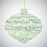 Christmas bauble made from Merry Christmas in different languages Stock Photo