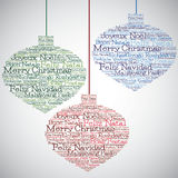 Christmas bauble made from Merry Christmas in different languages Stock Images
