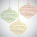 Christmas bauble made from Merry Christmas in different languages Stock Image