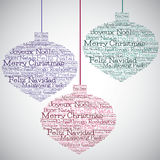 Christmas bauble made from Merry Christmas in different languages Royalty Free Stock Photo