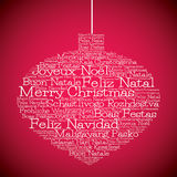 Christmas bauble made from Merry Christmas in different languages Royalty Free Stock Photos