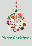 Christmas Bauble. Made from presents, an angle a christmas hat, christmas stocking snowman pudding bauble tree candy canes, Santa clause and his sleigh and Royalty Free Stock Photo