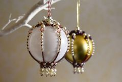 Christmas bauble ornaments bejeweled stock images