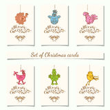 Christmas bauble ornaments. Collection of 6 christmas gift tags.Cards with bauble ornaments hanging.New Year symbol 2017 Cockerel.Vector illustration Royalty Free Stock Image