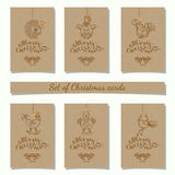 Christmas bauble ornaments. Collection of 6 kraft paper christmas gift tags.Cards with bauble ornaments hanging.New Year symbol 2017 Cockerel.Vector illustration Royalty Free Stock Images