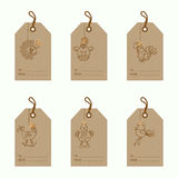 Christmas bauble ornaments. Collection of 6 kraft paper christmas gift tags.Cards with bauble ornaments hanging.New Year symbol 2017 Cockerel.Vector illustration Royalty Free Stock Photos