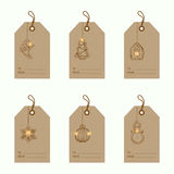 Christmas bauble ornaments. Collection of 6 kraft paper christmas gift tags.Cards with bauble ornaments hanging.Vector illustration Royalty Free Stock Photos
