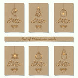Christmas bauble ornaments. Collection of 6 kraft paper christmas gift tags.Cards with bauble ornaments hanging.Vector illustration Royalty Free Stock Image