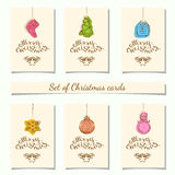 Christmas bauble ornaments. Collection of 6 kraft paper christmas gift tags.Cards with bauble ornaments hanging.Vector illustration Stock Images