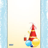 Christmas bauble  and party hat panel background Stock Images