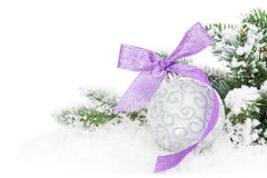 Christmas bauble and purple ribbon with snow fir tree. On white background with copy space Stock Images