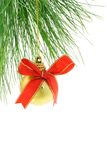 Christmas bauble with red bow ribbon Stock Image
