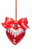 Christmas bauble with red ribbon bow isolated on Stock Photos