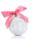Christmas bauble with red ribbon. On white background Royalty Free Stock Images